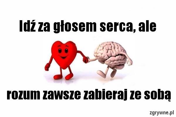 Idź za głosem serca, ale rozum zawsze zabieraj ze sobą...