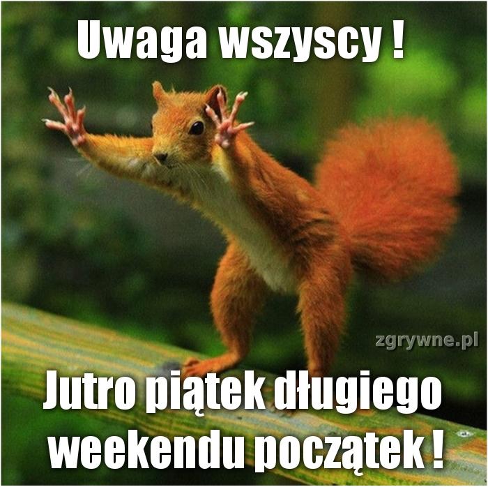 Uwaga wszyscy! Jutro piątek długiego weekendu początek!