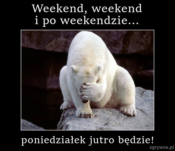 Weekend, weekend i po weekendzie...poniedziałek jutro będzie!