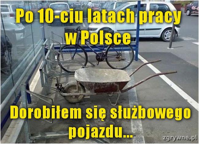 Po 10-ciu latach pracy w Polsce dorobiłem się służbowego pojazdu