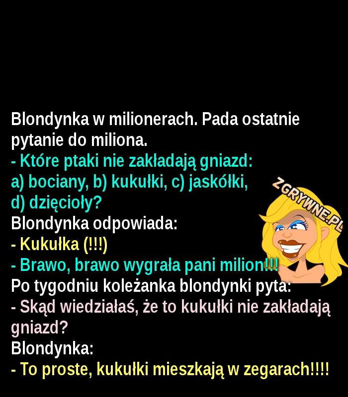 Blondynka w milionerach... :)