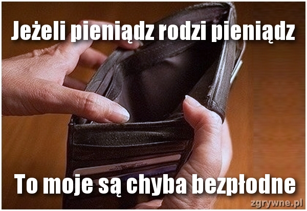 Jeżeli pieniądz rodzi pieniądz. To moje są chyba bezpłodne...:(