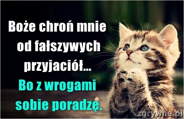 Boże chroń mnie od fałszywych przyjaciół... Bo z wrogami sobie..